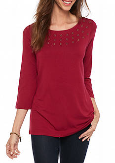New Directions Grommet Knit Top