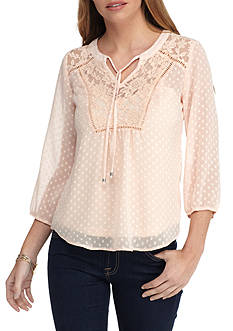 New Directions Petite Clip Dot Blouse