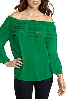 New Directions Petite Bell Sleeve Gauze Off Shoulder Blouse