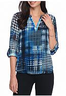New Directions® Plaid Split V Henley Top
