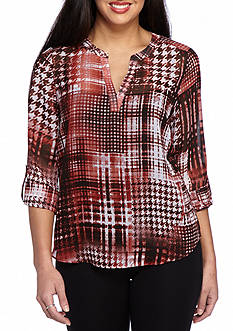 New Directions Plaid Split V Henley Top