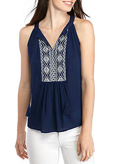 New Directions Petite Printed Sleeveless Blouse