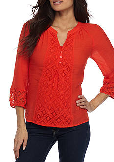 New Directions Petite Solid Front Blouse
