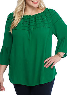 New Directions Plus Size Bell Sleeve Gauze Off Shoulder Blouse