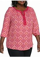 New Directions® Plus Size Long Sleeve Tassel