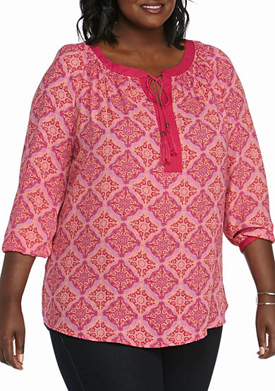 New Directions® Plus Size Long Sleeve Tassel Tie Blouse