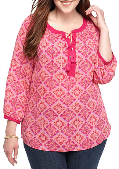 New Directions® Plus Size Tassel Tie Long Sleeve Blouse