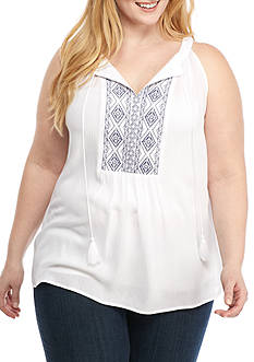 New Directions Plus Size Printed Front Sleeveless Blouse