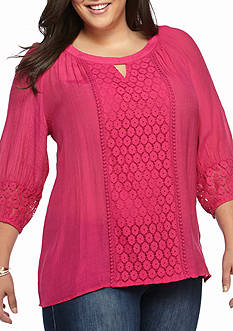 New Directions Plus Size Crochet Linen Blouse