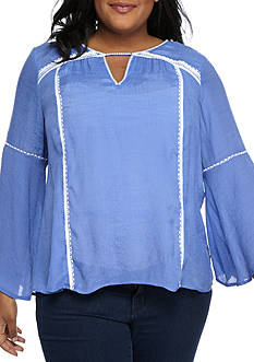 New Directions Plus Size Bell Sleeve Embroidery Slub