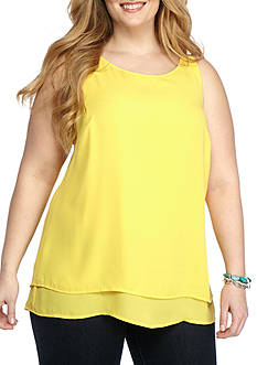 New Directions Plus Size Sleeveless Double Layer Split Back Blouse