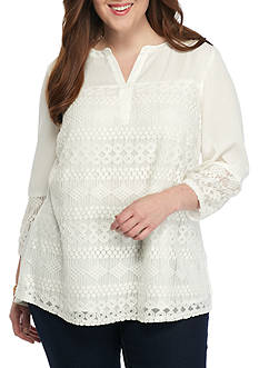 New Directions Plus Size Lace Inset Split Neck Woven Top