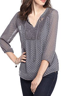 New Directions Clip Dot Chiffon Blouse