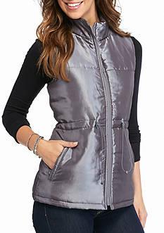 New Directions Weekend Metallic Puffer Vest