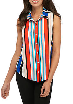 New Directions Striped Button Front Blouse