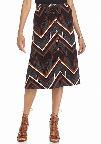 New Directions® Geo Stripe Button Front Skirt