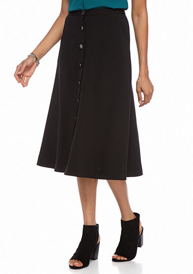 New Directions® Solid Button Front Skirt