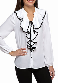 New Directions Ruffle Front Blouse
