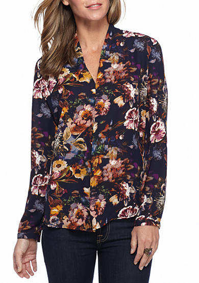 New Directions® Floral Inverted Pleated Blouse