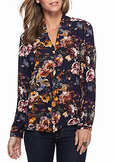 New Directions Floral Inverted Pleated Blouse