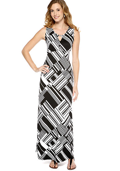 New Directions® Black and White Maxi Dress