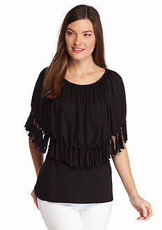 New Directions® Ruched Neck Fringe Trim Poncho