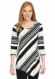 New Directions Multi Stripe Pointed Hem Tee