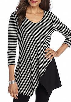 New Directions Stripe Colorblock Hanky Hem Top