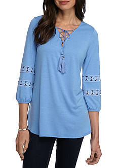 New Directions Lace-Up Crochet Trim Top