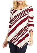 New Directions® Asymmetrical Stripe Top
