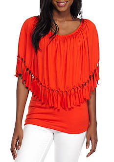 New Directions® Solid Fringe Trim Flounce Top