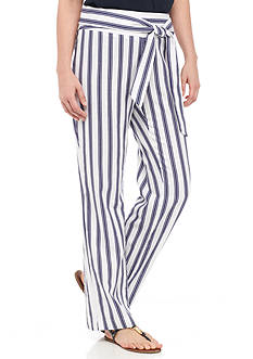 New Directions Striped Tie Waist Linen Pant