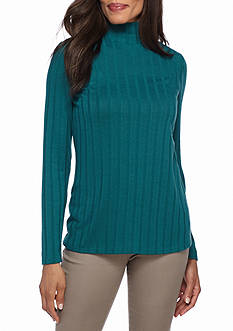 New Directions Ribbed Mock Neck Top