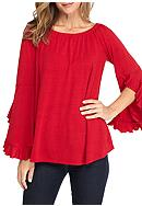 New Directions® Off Shoulder Ruffle Sleeve