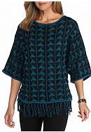 New Directions® Geo Patterned Fringe Sweater