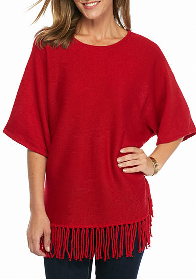 New Directions® Solid Fringe Sweater