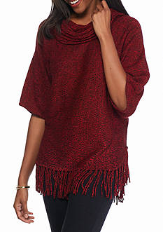 New Directions Marled Cowl Neck Fringe Sweater