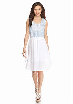 New Directions Petite Woven and Knit Midi Dress