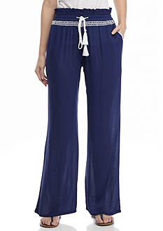 New Directions Petite Gauze Soft Pant with Contrast Stitch