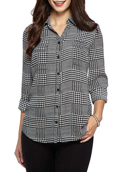 New Directions® Petite Size Printed Collar Shirt With Roll Up Sleeve