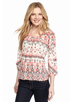 New Directions® Petite Bow Sleeve Printed Top