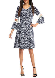 New Directions Petite Printed Bell Sleeve Dress