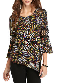 New Directions Petite Size Printed Lace Trim Top