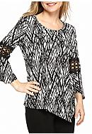 New Directions® Petite Size Print Bell Sleeve