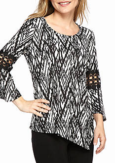 New Directions Petite Size Print Bell Sleeve Crochet Inset Top