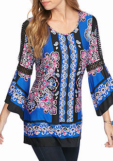 New Directions Border Print Crochet Trim Tunic