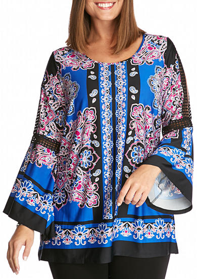 New Directions® Petite Size Bell Split Sleeve Border Print Tunic