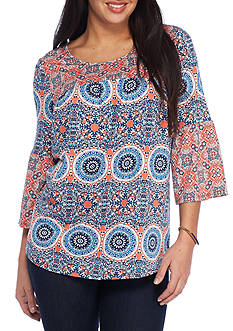 New Directions® Petite Size Bell Sleeve Mixed Print Shirt