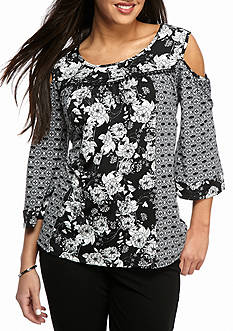 New Directions® Petite Size Cold Shoulder Pom Inset Print Top