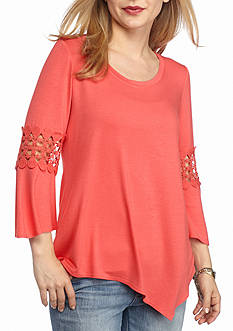 New Directions Petite Crochet Inset Top